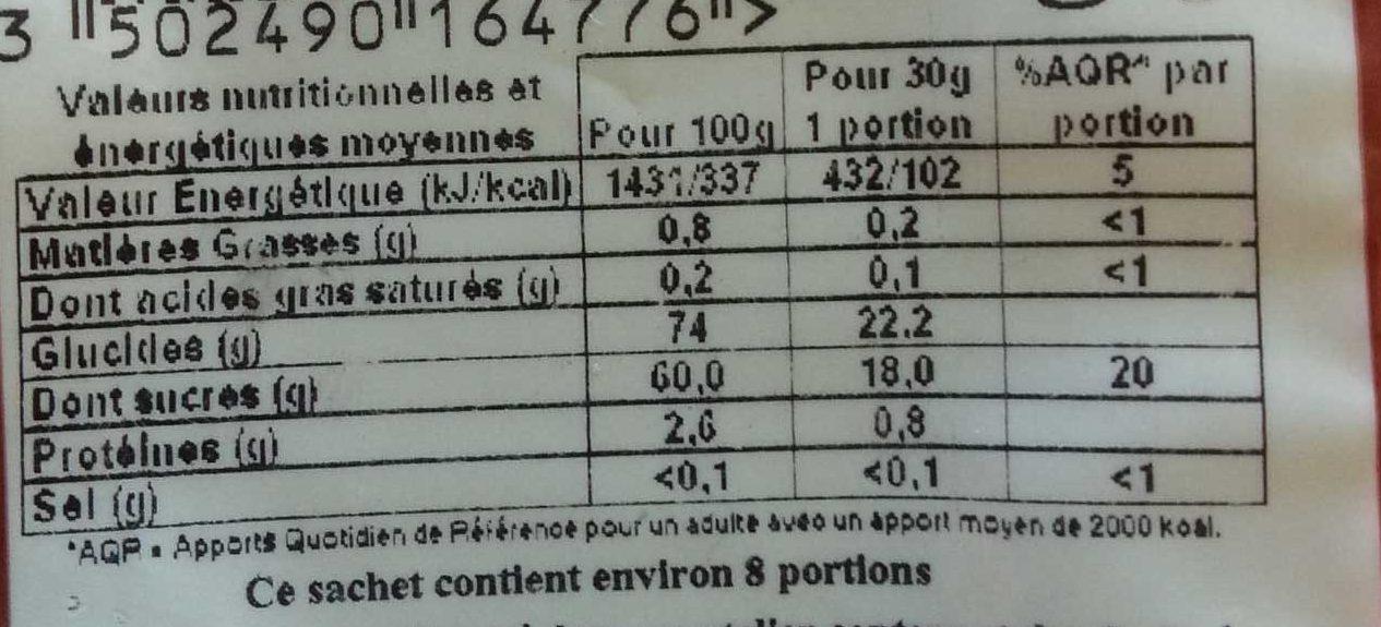 Raisins Secs de Corinthe - Informations nutritionnelles - fr