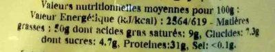 Arachides coques grillées à sec - Informations nutritionnelles