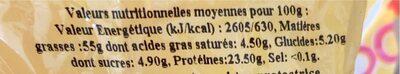 Amandes décortiquées - Valori nutrizionali - fr