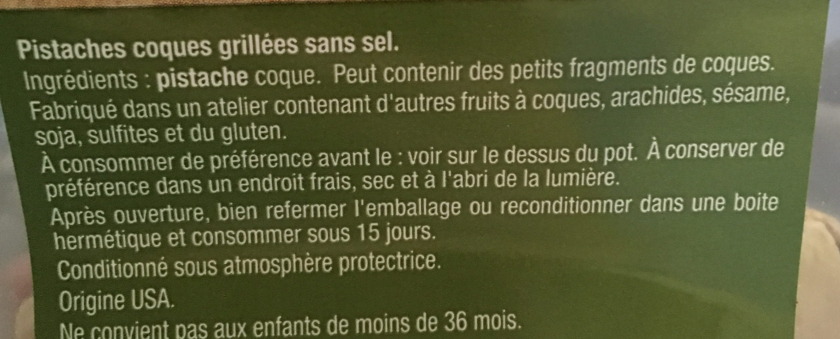 Pistaches grillées sans sel - Ingrédients - fr