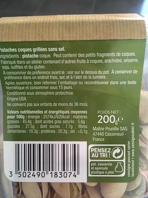 Pistaches grillées sans sel - Informations nutritionnelles - fr