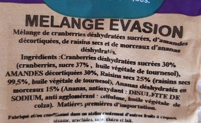 Melange evasion - Ingrediënten - fr