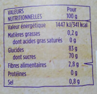 Ananas morceau - Informations nutritionnelles - fr