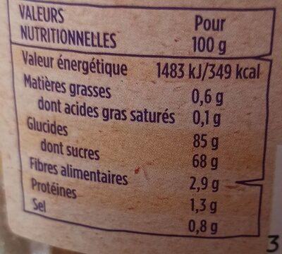 Péches lamelles - Informations nutritionnelles