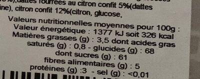 Excursion - Informations nutritionnelles - fr