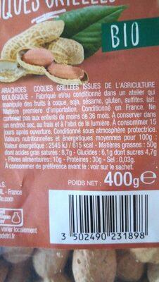 Arachides coques grillés - Informations nutritionnelles - en