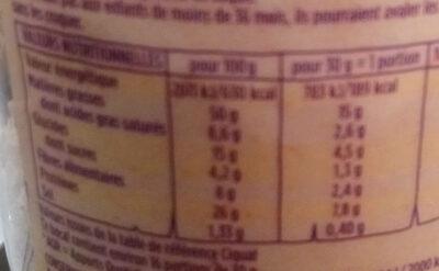 cacahuètes grillées salées - Nutrition facts