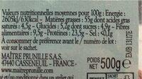 Amandes décortiquées - Informations nutritionnelles - fr