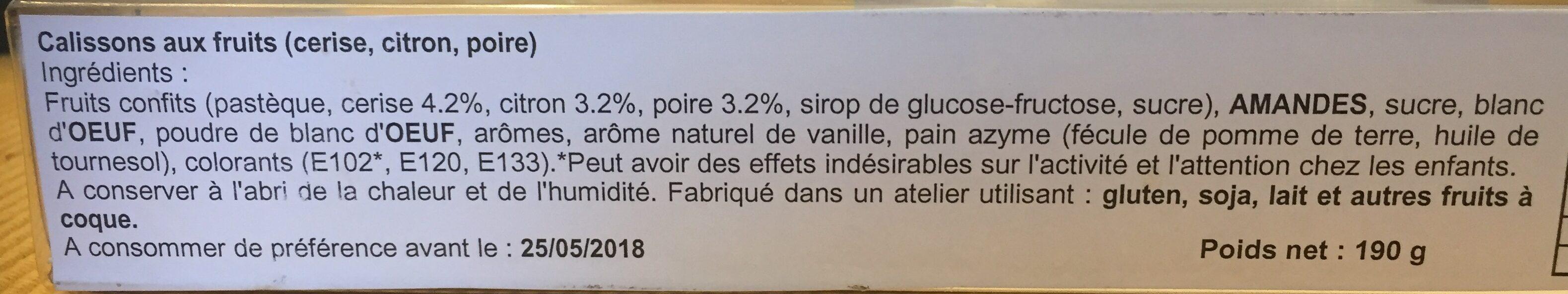 Calisson aux fruits - Ingrédients - fr