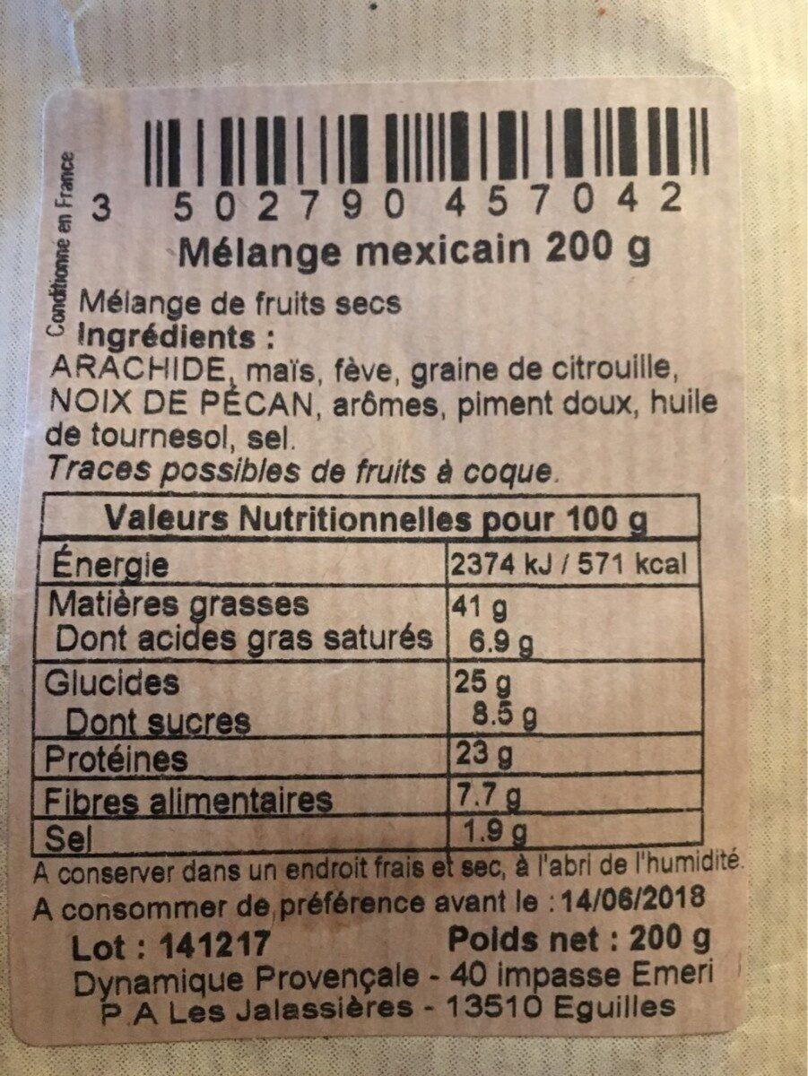 Mélange mexicain - Apéros du Vieux Bistrot - Informations nutritionnelles - fr