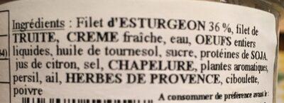 Terrine d'esturgeon - Ingredients