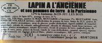 Cuisse de Lapin à l'Ancienne & ses Pommes de Terre à la Parisienne - Ingredients - fr