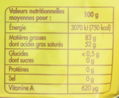 Beurre biologique - Nutrition facts - fr