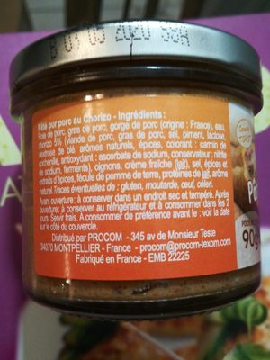 Pâté Apero Chorizo - Ingrediënten - fr