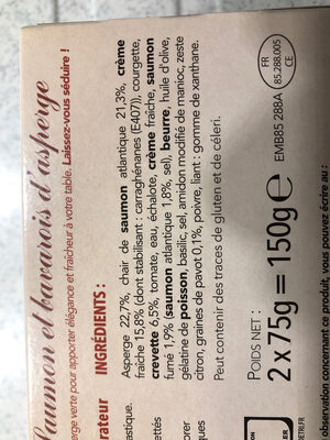 Emiéttés de saumon et bavarois d'asperge - Ingrediënten - fr