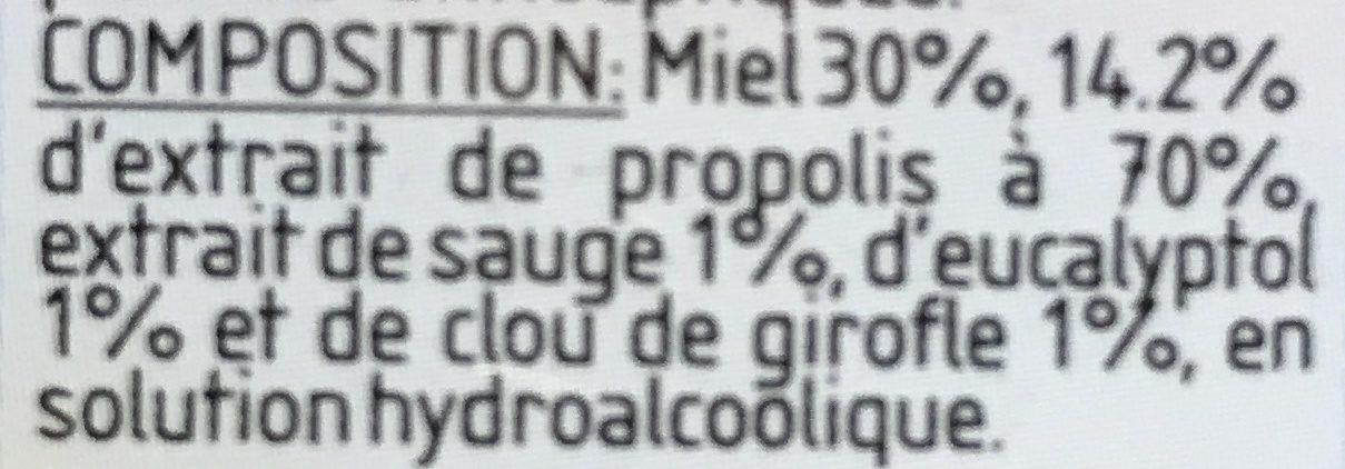 Spray bouche & gorge à la propolis, miel & plantes - Ingrédients - fr
