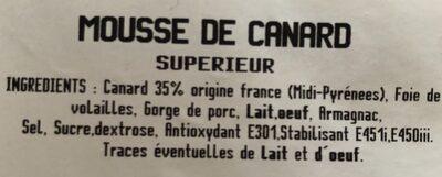La mousse de canard - Ingrediënten - fr