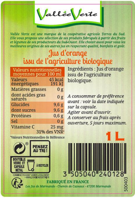 Pur jus d'Orange Bio - Ingredienti - fr