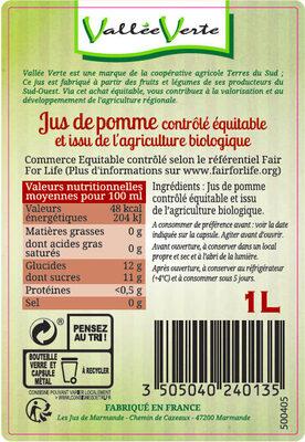 Pur jus de Pomme du Lot-et-Garonne Bio Equitable - Ingredienti - fr