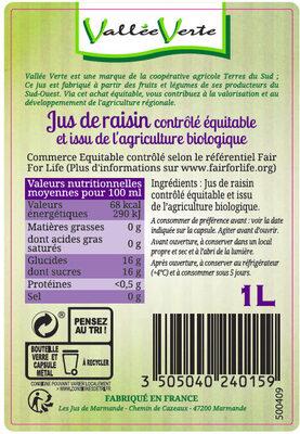 Pur jus de Raisin du Lot-et-Garonne Bio Equitable - Ingrediënten - fr
