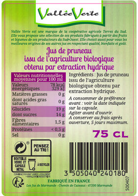 Jus de Pruneau du Sud-Ouest Bio - Ingredienti - fr