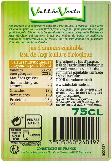 Pur jus d'Ananas Bio du Bénin Equitable - Ingredienti - fr