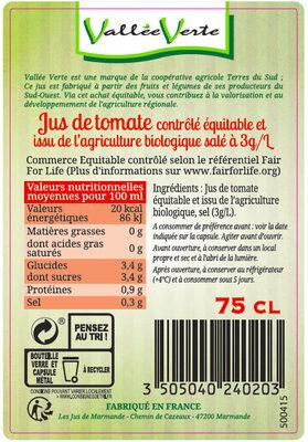 Pur jus de Tomate salé 3g/l de Marmande Bio Equitable - Ingrediënten - fr