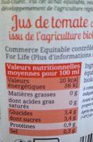 Pur jus de Tomate salé 3g/l de Marmande Bio Equitable - Voedingswaarden - fr