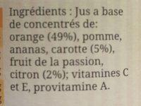 Cocktail Bien être Orange, Citron, Carotte, La Bouteille De 1l - Ingrediënten - fr