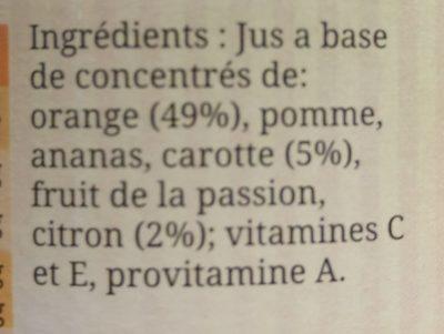 Cocktail Bien être Orange, Citron, Carotte, La Bouteille De 1l - Ingrediënten