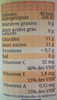 Cocktail Bien être Orange, Citron, Carotte, La Bouteille De 1l - Voedingswaarden - fr
