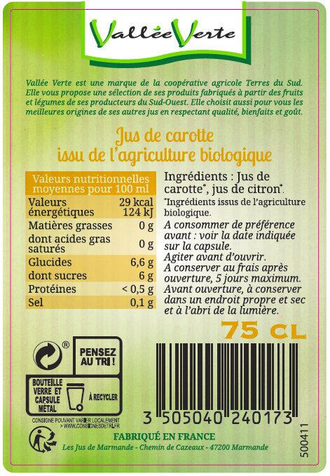 Pur jus de Carotte des Landes Bio - Ingredienti - fr