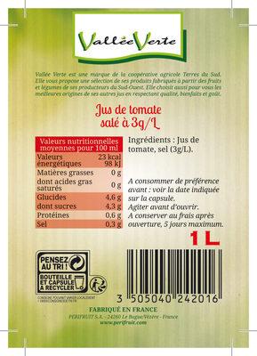 Pur jus de tomate salé 3g/l de Marmande Equitable - Ingrediënten - fr