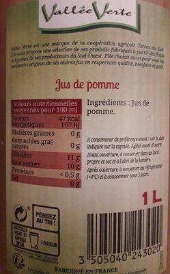 Pur jus de pomme du lot et Garonne - Valori nutrizionali - fr