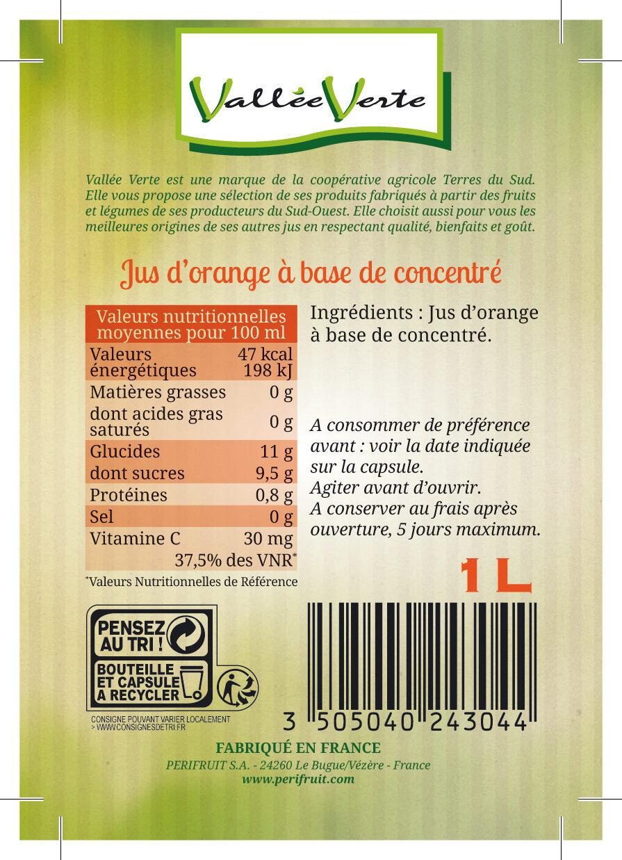 Jus d'Orange à base de concentré - Ingredienti - fr