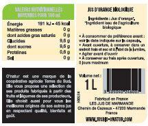 Pur Jus d'Orange Bio - Valori nutrizionali - fr