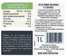 Pur Jus de Pomme du Lot et Garonne Bio - Voedingswaarden - fr