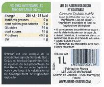 Pur Jus de Raisin du Lot et Garonne Bio Equitable - Valori nutrizionali - fr