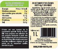 Jus de Légumes Bio - Valori nutrizionali - fr