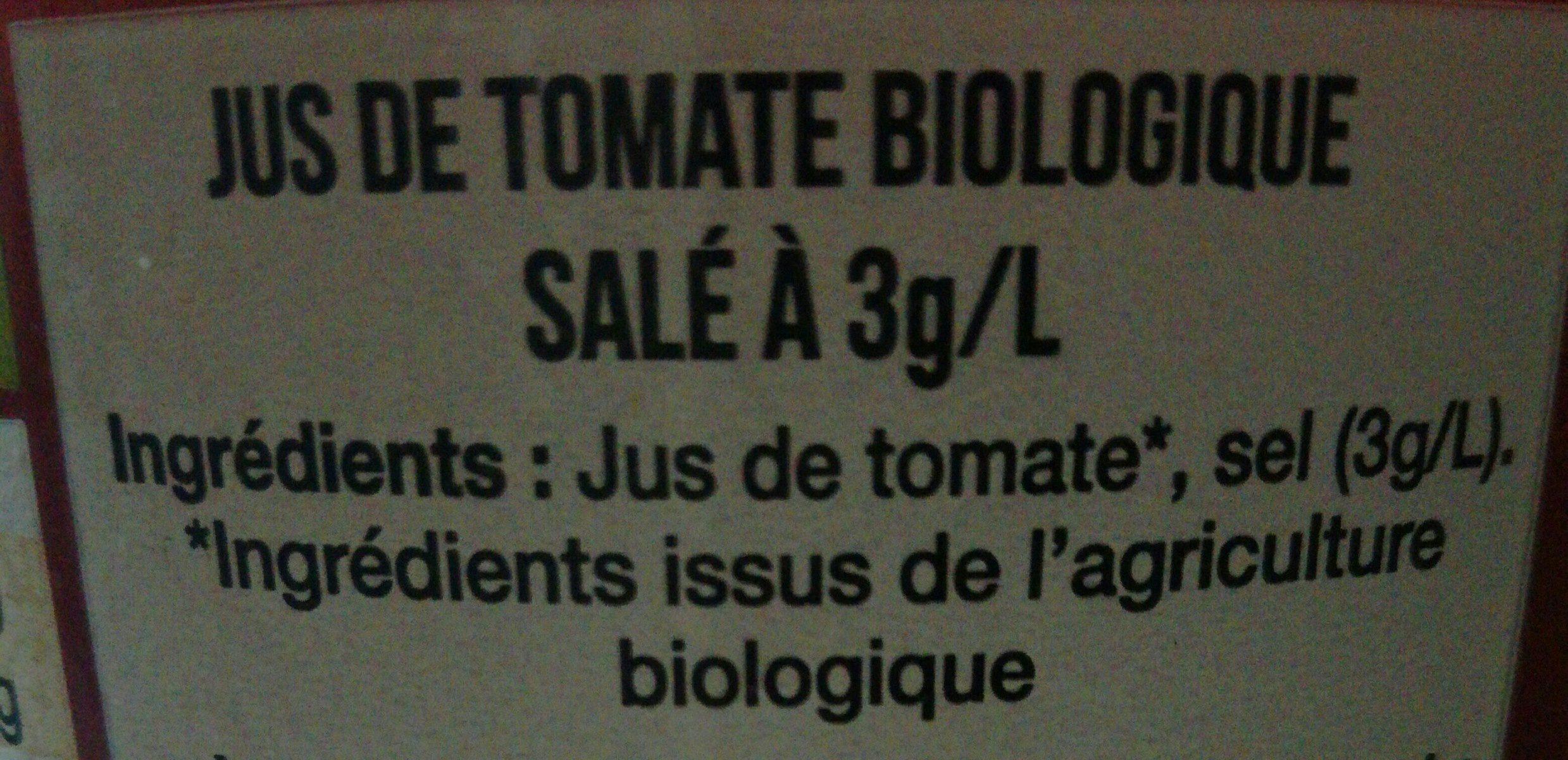 Pur Jus de Tomate de Marmande Bio Equitable - Ingrediënten - fr