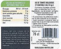 Pur Jus de Tomate de Marmande Bio Equitable - Voedingswaarden - fr