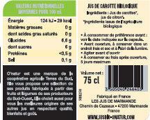 Pur Jus de Carotte des Landes Bio - Valori nutrizionali - fr