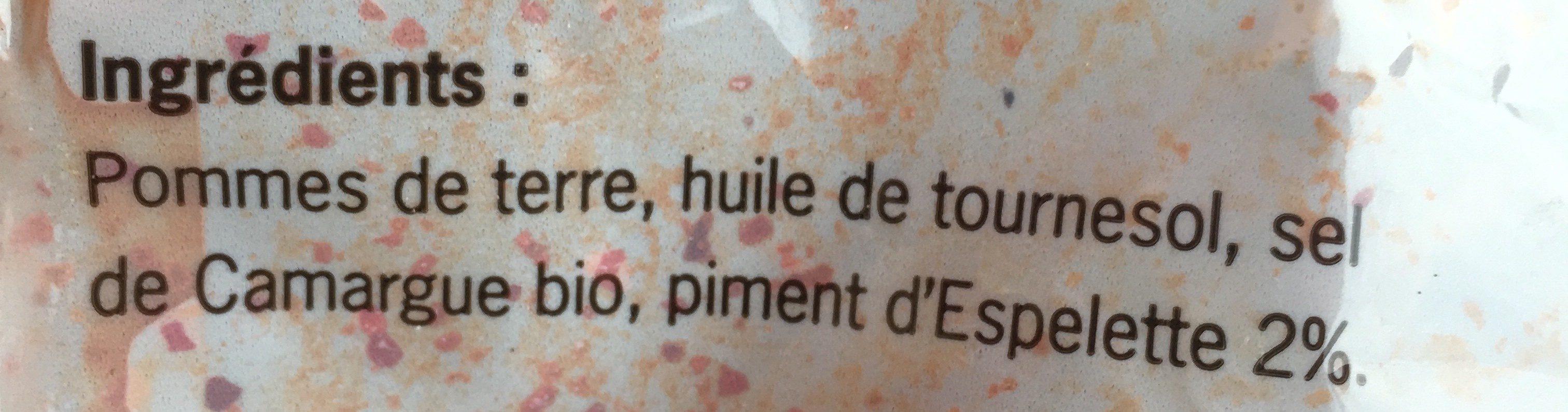 Les chips de l'Aveyron au piment d'Espelette - Ingrédients