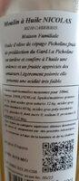 Huile D'olive Picholine 50 CL - Valori nutrizionali - fr