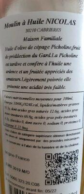 Huile D'olive Picholine 50 CL - Valori nutrizionali