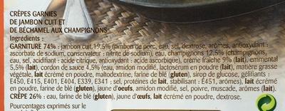 Ficelle Picarde 2 crêpes Jambon, Emmental & Champignons - Ingrediënten - fr