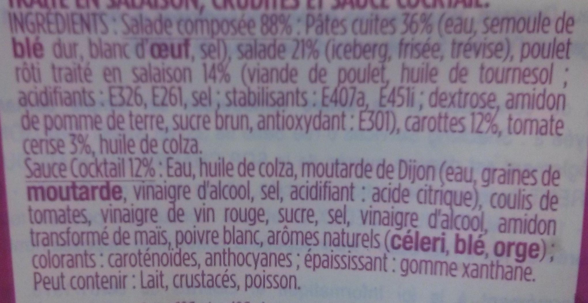 Pâtes Poulet Crudités, sauce cocktail - Ingrédients - fr