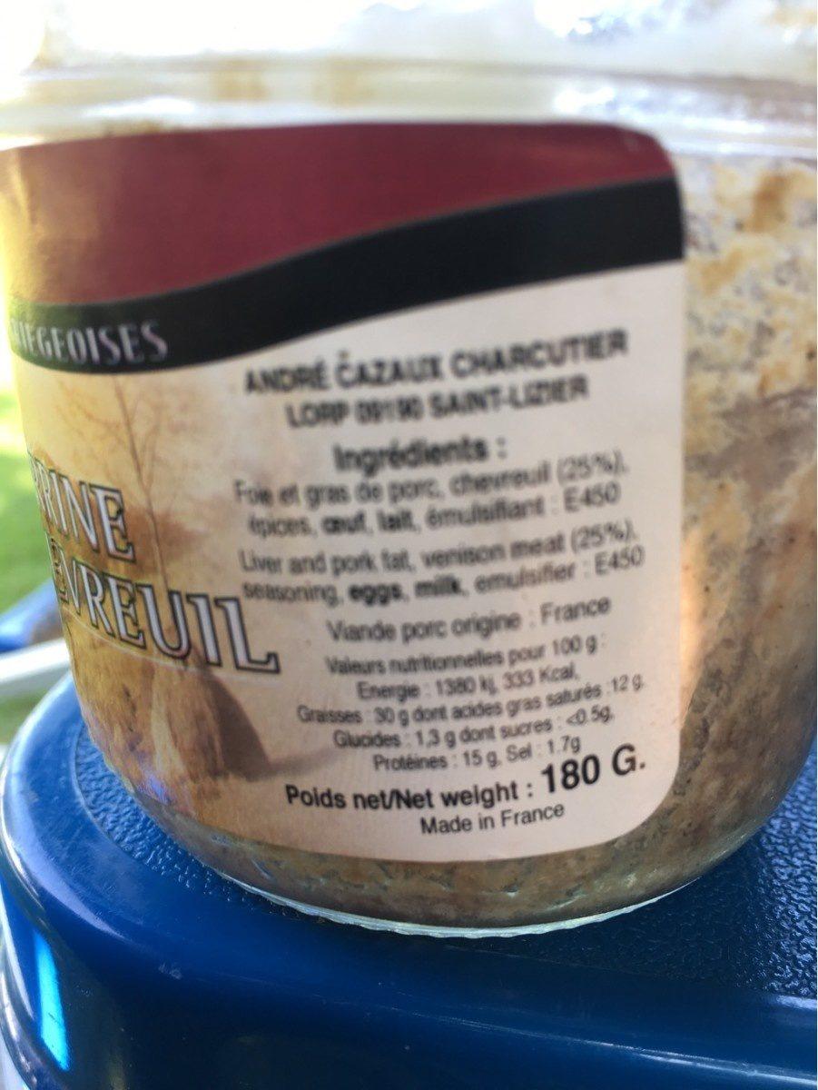 Terrine de chevreuil - Informations nutritionnelles