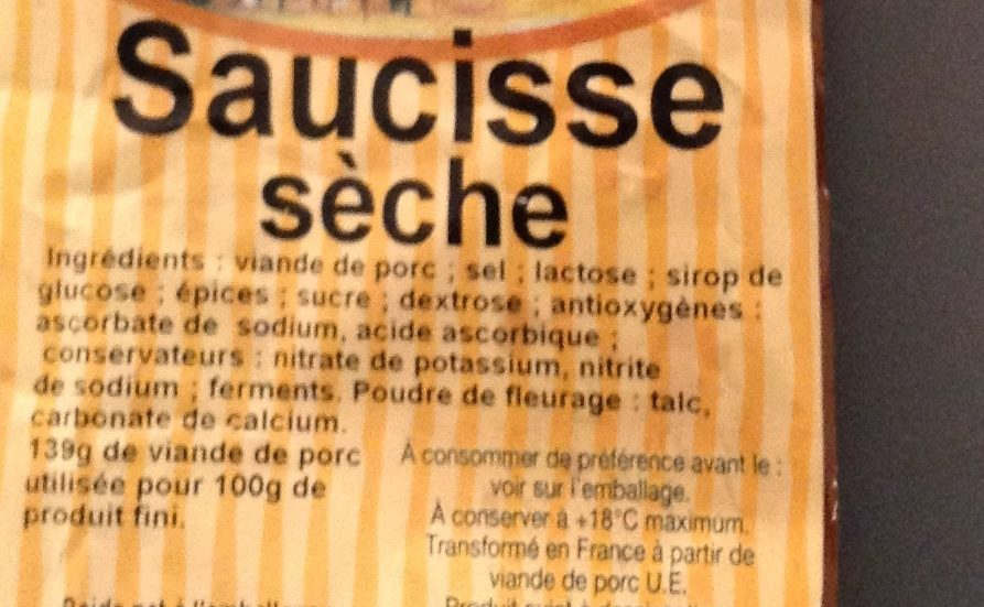 Saucisse sèche - Ingredients - fr