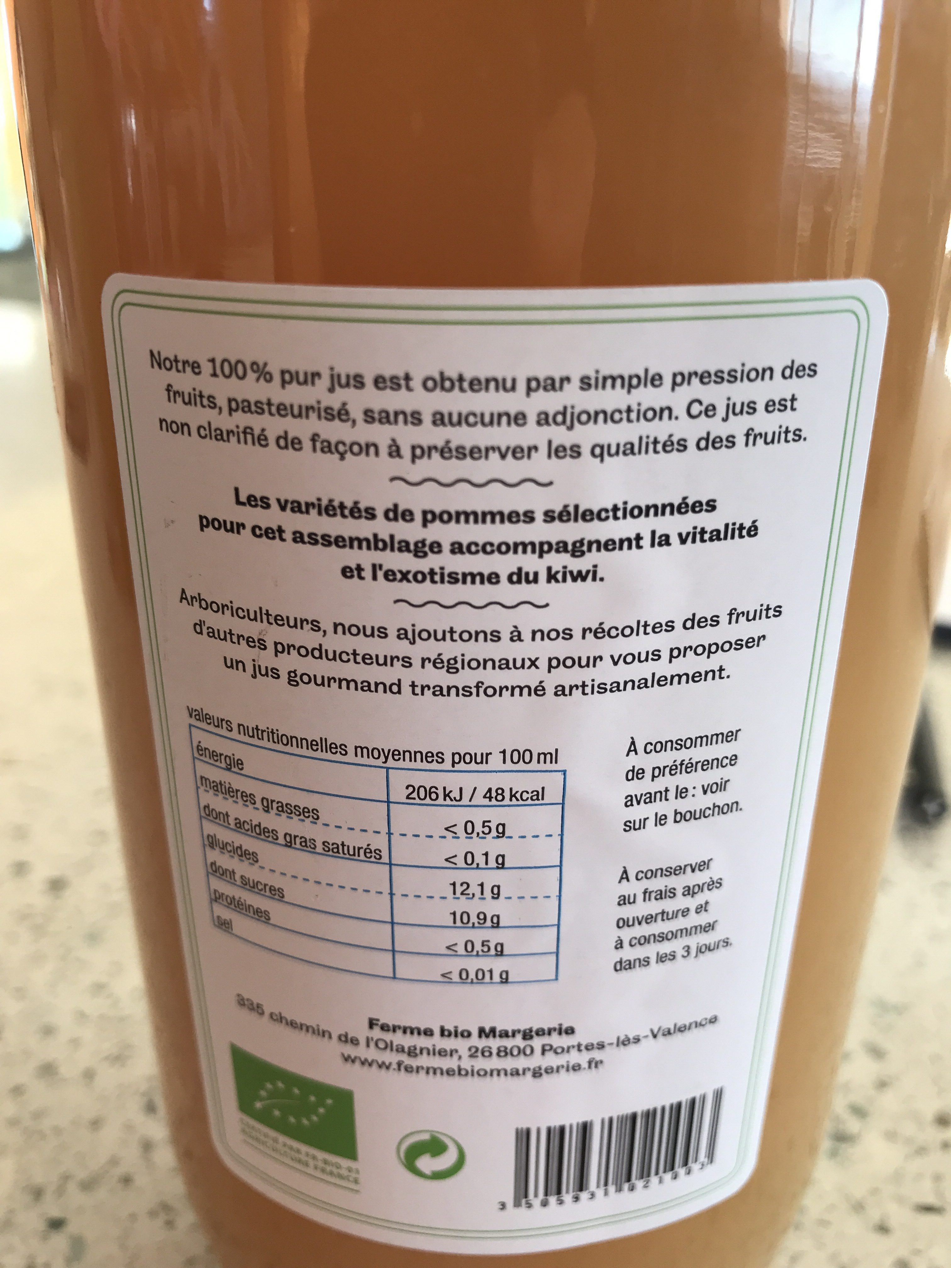 Le pur jus artisanal pomme kiwi - Ingredienti - fr